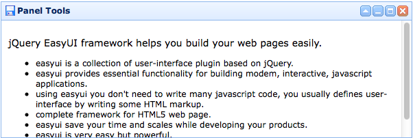 panel - Documentation - jQuery EasyUI