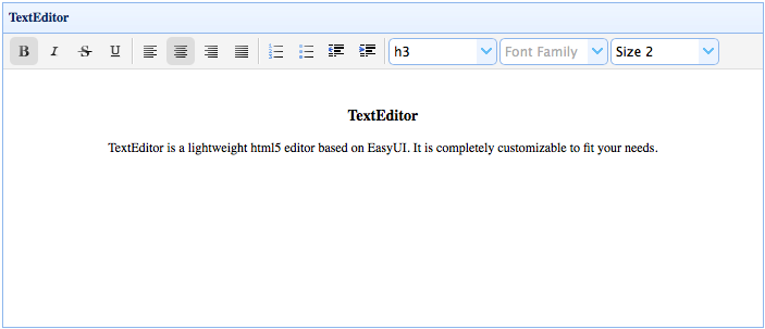 TextEditor - Extension - jQuery EasyUI