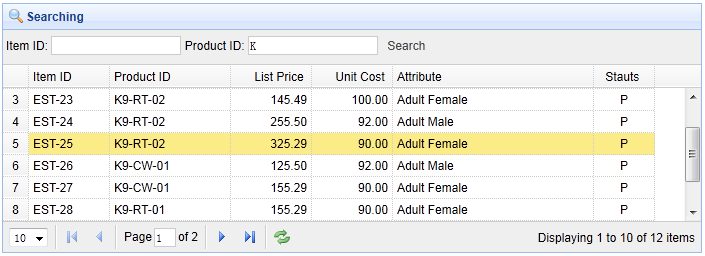 Add search functionality in DataGrid - jQuery EasyUI