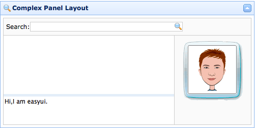 Complex layout on Panel - jQuery EasyUI
